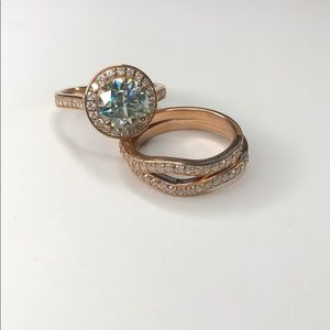 2Ct Blue Moissanite Engagement Ring Set Size 7.25